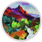 Round Beach Towel featuring the painting Zion - The Watchman And The Virgin River Vista by Elise Palmigiani