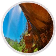 Round Beach Towel featuring the photograph Zion - Under The Falls by Dany Lison