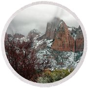 Zion Winter Skyline Round Beach Towel