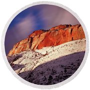 Zion's East Temple At Sunset Round Beach Towel by Daniel Woodrum
