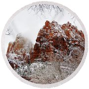 Zion's Peaks Framed Round Beach Towel by Daniel Woodrum