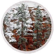 Zion's Red And Green Round Beach Towel