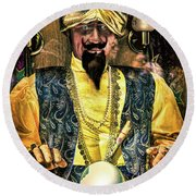 Round Beach Towel featuring the photograph Zoltar by Chris Lord