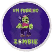 Round Beach Towel featuring the digital art Zombie by Julia Art