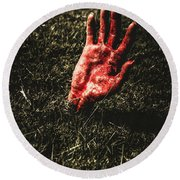 Zombie Rising From A Shallow Grave Round Beach Towel