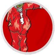 Zombie Santa Claus Illustration Round Beach Towel
