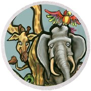 Zoo Animals Round Beach Towel by Kevin Middleton