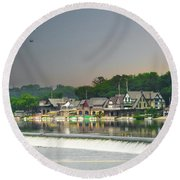 Round Beach Towel featuring the photograph Zoo Balloon Flying Over Boathouse Row by Bill Cannon