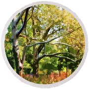 Zoo Trees Round Beach Towel