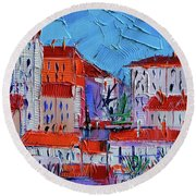 Zoom On Croix-rousse - Lyon France - Palette Knife Oil Painting By Mona Edulesco Round Beach Towel