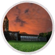 Round Beach Towel featuring the photograph Zrinskis' Castle 2 by Davor Zerjav