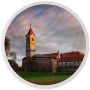 Round Beach Towel featuring the photograph Zrinskis' Castle by Davor Zerjav