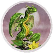 Zucchini Dragon Round Beach Towel by Stanley Morrison