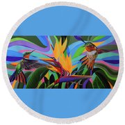 Zumbador Canela Round Beach Towel by Angel Ortiz