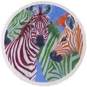 Round Beach Towel featuring the painting Zzzebras by Jamie Frier