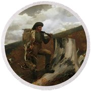 A Huntsman And Dogs, 1891 Round Beach Towel