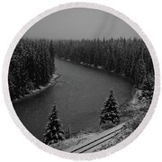 A View From The Side Of The Bow Valley Parkway, Banff National P Round Beach Towel