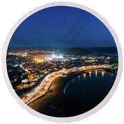 Aberystwyth At Night From The Air Round Beach Towel