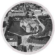 Aerial Photo Of Orebro, With Orebro Castle, Built In 1573-1627 Round Beach Towel
