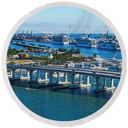 Aerial View Of South Beach And Venetian Round Beach Towel