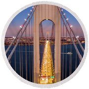 Aerial View Of Verrazzano Narrows Bridge Round Beach Towel