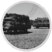 Amish Wagons Filled With Hay Round Beach Towel