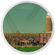 An Amish Harvest Round Beach Towel