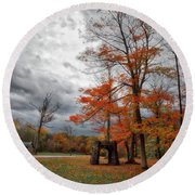 Round Beach Towel featuring the photograph An Autumn Day At Chestnut Ridge Park by Guy Whiteley