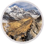 Annapurna South Peak In Nepal Round Beach Towel