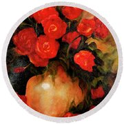 Antique Red Roses Round Beach Towel