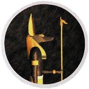 Anubis, God Of Egypt Round Beach Towel
