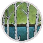 Aspen Trees On The Lake Round Beach Towel