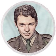Audie Murphy, Vintage Actor And War Hero Round Beach Towel