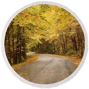 Round Beach Towel featuring the photograph Autumn Drive by Brian Eberly