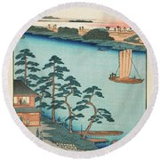 Autumn Niijuku Ferry, 19th Century Round Beach Towel