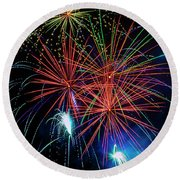 Awesome Amazing Fireworks Round Beach Towel