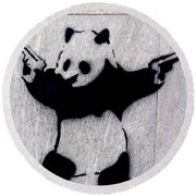 Banksy Panda Round Beach Towel