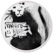 Banksy Rat The End Is Here Round Beach Towel