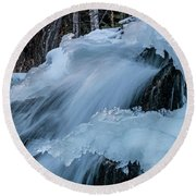 Big Hills Springs Under Snow And Ice, Big Hill Springs Provincia Round Beach Towel