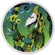 Round Beach Towel featuring the digital art Birdman by Sotuland Art