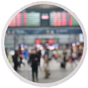 Blurred Background Of Busy Transportation Hub Round Beach Towel