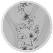 Blush Pink Flower Drawing I Round Beach Towel
