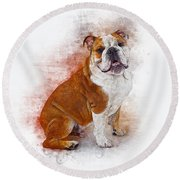 Bulldog Round Beach Towel