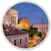Round Beach Towel featuring the photograph Capitoline Hill by Fabrizio Troiani