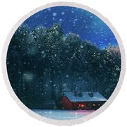 Round Beach Towel featuring the photograph Chalet by Okan YILMAZ