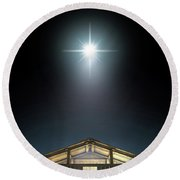 Christ's Birth In A Stable Round Beach Towel