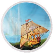 City On The Sea Round Beach Towel
