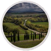 Round Beach Towel featuring the photograph Clouds Over Tuscany by Tim Bryan