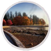 Colorful Autumn Foliage At Stanley Park Round Beach Towel