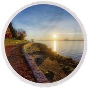 Colorful Autumn Sunrise At Stanley Park Round Beach Towel